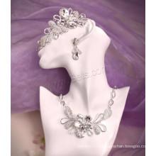 Цинковый сплав ювелирных изделий Rhinestone Серебряный Цвет Покрытый Свадебный комплект ювелирных изделий