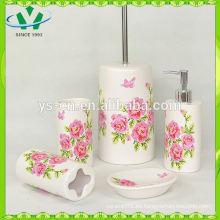 Nuevo sistema de cerámica del cuarto de baño de la etiqueta de la flor 4pc al por mayor, sistemas de cerámica del cuarto de baño de la flor hermosa de la etiqueta