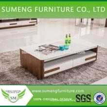 2014 New design glass top MDF veneer coffee table
