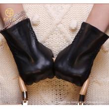 ZF5788 Guantes de cuero de la señora negra del invierno del diseño clásico del nuevo estilo