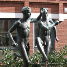 bronze fundição moderna jardim de alta qualidade estátua de bronze menino nu