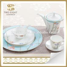 Ensemble de vaisselle fleur bleue pas cher en céramique usine de Guangzhou