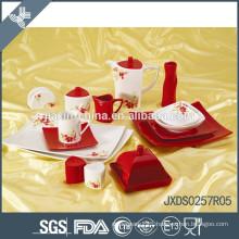 55pcs solid color dinner set, square shape porcelain dinner set, flower decal dinner set