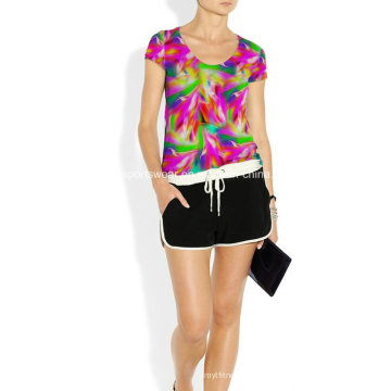 Mujer Sexy Flourescent Compression Crossfit Camisa Adm16