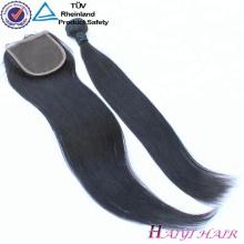 Pas cher Vierge Cheveux indiens 4x4 partie libre partie médiane partie 3 dentelle fermeture