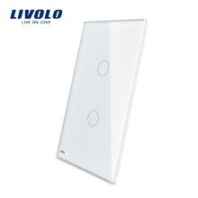 Livolo Роскошный Белый Жемчуг Кристаллическое Стекло 125 мм * 78 мм Стандарт США Одноместный Стеклянная Панель Для Продажи 2 Банды Настенный Сенсорный Выключатель VL-C5-C2-11