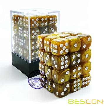 Bescon 12mm 6 caras Dice 36 en Brick Box, 12 mm Six Sided Die (36) Bloque de dados, Mármol Golden