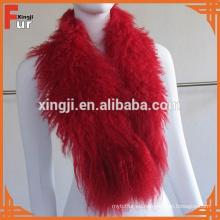 Cuello largo de piel de cordero mongol