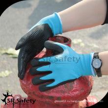 SRSAFETY синие пенные цветные нитриловые перчатки с нитрильными точками