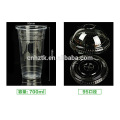 Plastic transparent thick PP hot and cold drink cup milk cup 600ml