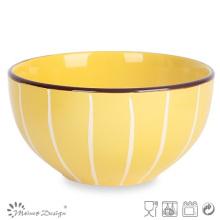 Multi-Color Glazed with White Line Ceramic Rice Bowl