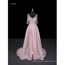Latest design formal evening gown pink colour frocks half long sleeve evening dresses for party wear
