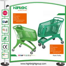 Nouveau chariot plein en plastique de supermarché