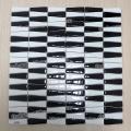 fornecedor chinês tira misturado preto e branco telha de mosaico de vidro de vidro vitrificado
