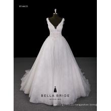 2017 factory direct sale latest V neckline ball gown appliqued flower decoration dress
