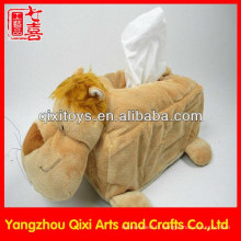 Boîte molle de tissu de peau d'animal / couverture animale de boîte de tissu de lion de peluche