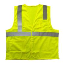 Malha de segurança reflexiva colete amarelo com bolsos