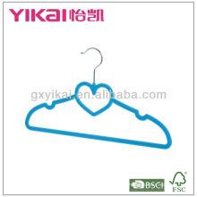 Форма сердца дешево компактный бархат с покрытием ABS пластиковая вешалка