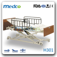 H301 Hot! Three functions electric Hi-low homecare hospital bed with wheels