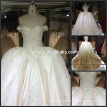 Bordado de encaje sin mangas vestido de novia de la novia de la muestra real pesado abalorios catedral tren vestido de novia real 2016