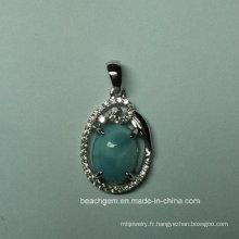 Pendentif en argent Sterling de bijoux naturels Larimar (P0350)
