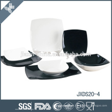 conjunto de jantar fantasia porcelana italiana branca e preta