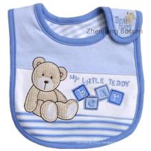 Cotton Terry Jersey Embroidered Applique Cartoon Bear Custom Pinafore Feeding Baby Bibs