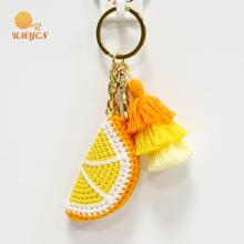 Оптовые аксессуары брелка вязания крючком оранжевого цвета