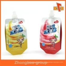 Gravura Impressão suco de frutas saco de embalagem com bico 90ml 120ml 200ml