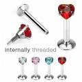 Prong Set Heart Gem Labret Monroe Stud