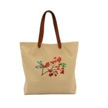 Durable Waxed Canvas Leather Tote Bag Custom Foldable Big Shopping Bag