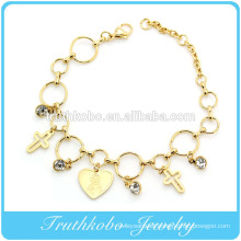 virgin mary statue charm stainless steel bracelets with crystal