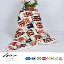 top seller london flag print coral fleece with sherpa blanket