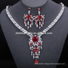 bridal jewelry hot sale high quality fashion diamond plated red big jewelry set wedding crystal jewelry set