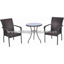 3 Stück Wicker Patio Set-Allwetter-Wicker Restaurants Satz