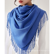 Hot Selling Women Fashion Solid Color Cashmere Shawl Oversized Winter Warm Hijab Wraps Ladies Long Pashmina Scarves