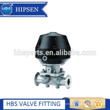 Válvula de diafragma pneumática de aço inoxidável com conexão de braçadeira