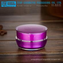 YJ-BA15-B 15g tão rentável redondo plástico de cosmeticos creme bom roxo 0,5 oz