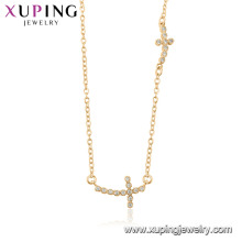 44516 wholesale fashion 18k gold color religion double cross necklace with stone for women
