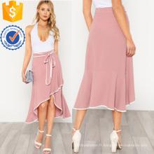 Contraste Reliure Auto Cravate Asymétrique Volants JupeManufacture En Gros Mode Femmes Vêtements (TA3099S)