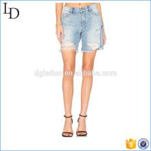 Destruido pantalones cortos de mujer de cintura alta denim pantalones cortos calientes frescos jean