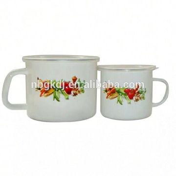 White Promotional gift custom enamel milk mug