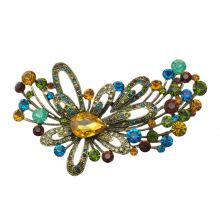 Broche de liga de zinco de strass colorido flor grande
