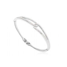 Gold Plated 925 Silver Infinity Bangle Jewelry with AAA CZ