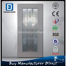 Fangda 32-en plein cadre en bois léger en mousse de polyuréthane injecté décoratif inswing porte intérieure en acier avec verre