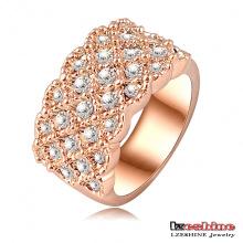 Anneaux de fiançailles en or rose 18 carats de luxe (Ri-HQ0062)