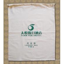 Saco de limpeza de lavagem de lavagem de hotel de cordão de Hotel de algodão impresso (YKY7404)