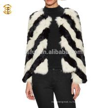 Новая зимняя мода Black and White Real Rabbit Fur Coat Девушки и женщины