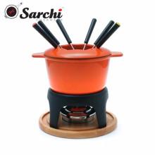 Set de fondue de hierro fundido con revestimiento de esmalte de color
