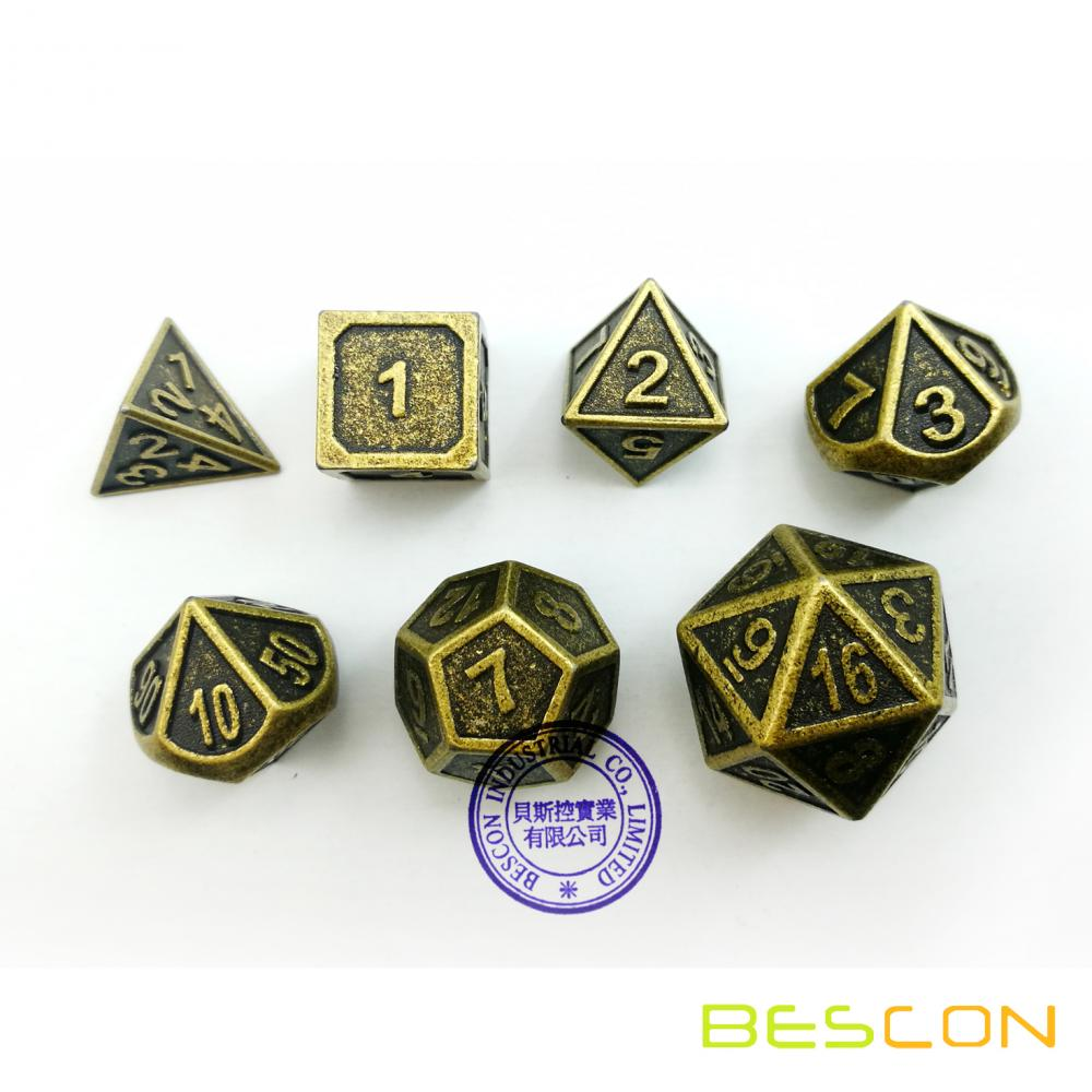 Set of 4 Deluxe Golden Solid Metal 20 Sides Dice D20 Gold Metallic Polyhedral Dice